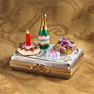 Limoges Happy Birthday With Champagne Cake And Gift Box Limoges Boxes France