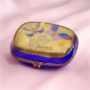 Limoges Chamart Butterflies on Gold Blue Box Limoges Boxes France